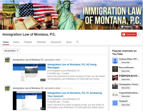 mmigration Law of Montana's YouTube channel