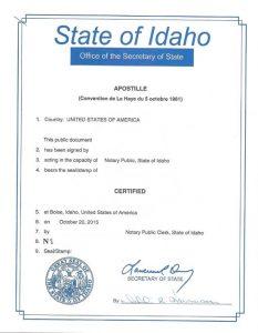 Apostille - State of Idaho
