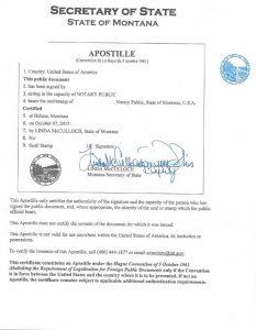 Apostille - State of Montana